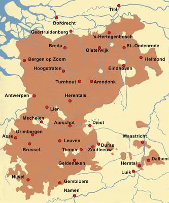 Kaart  Hertogdom 13 eeuw