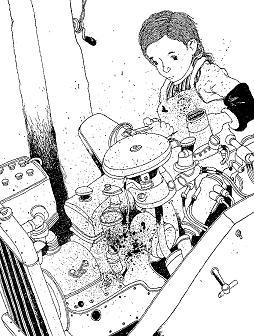自動車エンジンをいじる少女ミサオ(「ジュンとひみつの友だち」より)