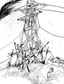 ダイスケ鉄塔とジュン(「ジュンとひみつの友だち」より)