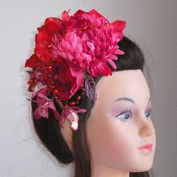 手毬菊とシンビジウムの和装髪飾り