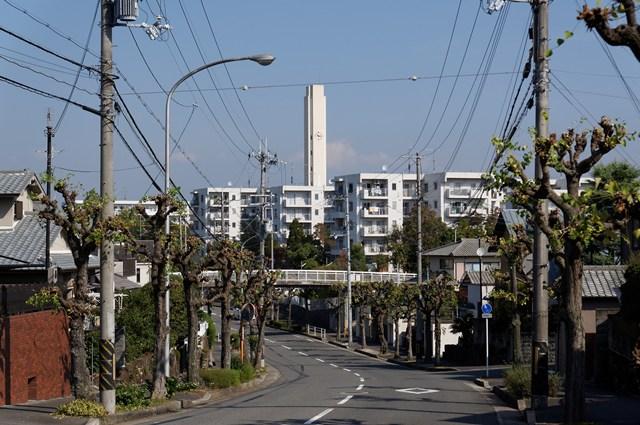 平城右京団地の住棟と給水塔