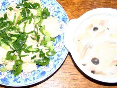 白菜のクリーム煮と鶏肉炒め