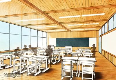 学校 教育施設 校舎 木造 教室 コンペ スケッチパース ラフスケッチ 外観パース 手書きパース 手描きパース フォトショップ photoshop