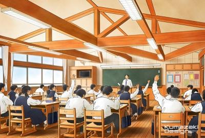 学校 木造校舎 教室 内観パース インテリアパース 手書きパース 手描きパース フォトショップ photoshop