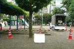 公園、砂場清掃、掃除