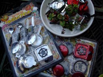ミニチュア多肉寄せ植え~100均おもちゃミニシェフセットで作成~♪2012.09.21